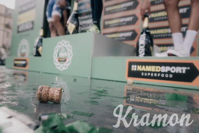 race winner Vincenzo Nibali (ITA/Bahrain-Merida) is celebrated on the podium in Como<br /> <br /> Il Lombardia 2017<br /> Bergamo to Como (ITA) 247km