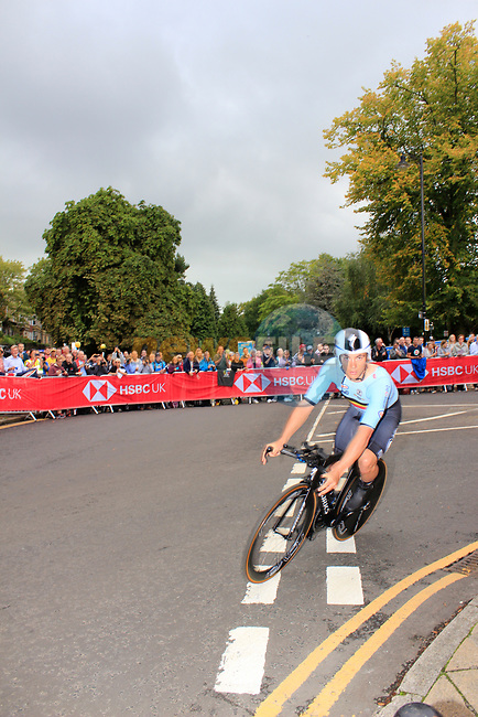Yves Lampaert (BEL) in action during the Men Elite Individual Time Trial of the UCI World Championships 2019 running 54km from Northallerton to Harrogate, England. 25th September 2019.<br /> Picture: Andy Brady | Cyclefile<br /> <br /> All photos usage must carry mandatory copyright credit (© Cyclefile | Andy Brady)