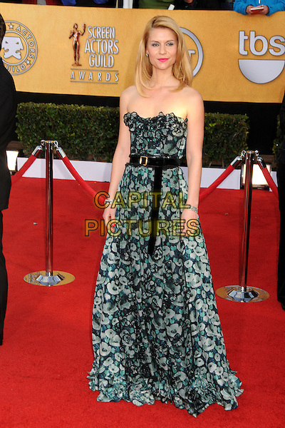 CLAIRE DANES .17th Annual Screen Actors Guild Awards held at The Shrine Auditorium, Los Angeles, California, USA..January 30th, 2011.SAG full length dress black green grey gray strapless floral print belt.CAP/ADM/BP.©Byron Purvis/AdMedia/Capital Pictures.