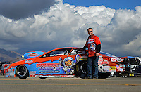 Nov. 9, 2012; Pomona, CA, USA: NHRA pro stock driver Kurt Johnson poses for a photo during qualifying for the Auto Club Finals at at Auto Club Raceway at Pomona. Mandatory Credit: Mark J. Rebilas-