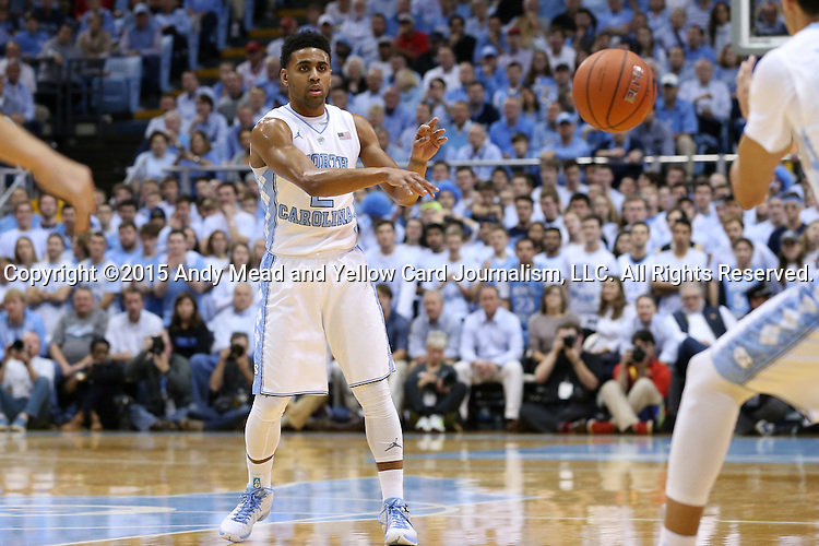 01 December 2015: North Carolina's Joel Berry II. The University of North Carolina Tar Heels hosted the University of Maryland Terrapins at the Dean E. Smith Center in Chapel Hill, North Carolina in a 2015-16 NCAA Division I Men's Basketball game. UNC won the game 89-81.