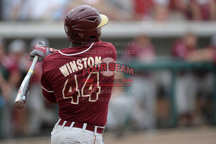 Florida State Seminoles designated hitter / relief pitcher Jameis Winston (44) at bat during a game against the South Florida Bulls on March 5, 2014 at Red McEwen Field in Tampa, Florida.  Florida State defeated South Florida 4-1.  (Mike Janes/Four Seam Images)