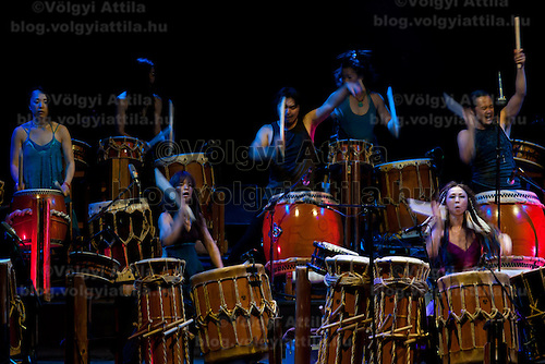 Artists from japan perform on their traditional drums during the Gocco koncert in Budapest, Hungary on June 07, 2011. ATTILA VOLGYI
