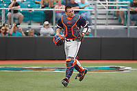 University of Virginia Cavaliers catcher Matt Thaiss (21) during a game against the University of Coastal Carolina Chanticleers at Springs Brooks Stadium on February 21, 2016 in Conway, South Carolina. Coastal Carolina defeated Virginia 5-4. (Robert Gurganus/Four Seam Images)