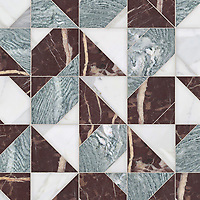 Axel, a hand-cut stone mosaic, shown in polished Calacatta Gold, Cippolino, and Bordeaux, is part of the Semplice™ collection for New Ravenna.
