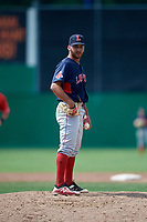 Lowell Spinners relief pitcher Tanner Raiburn (32) looks in for the sign during a game against the Batavia Muckdogs on July 15, 2018 at Dwyer Stadium in Batavia, New York.  Lowell defeated Batavia 6-2.  (Mike Janes/Four Seam Images)