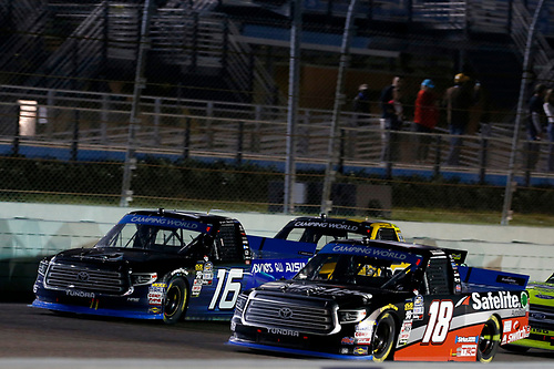 #18: Noah Gragson, Kyle Busch Motorsports, Toyota Tundra Safelite AutoGlass #16: Brett Moffitt, Hattori Racing Enterprises, Toyota Tundra AISIN Group