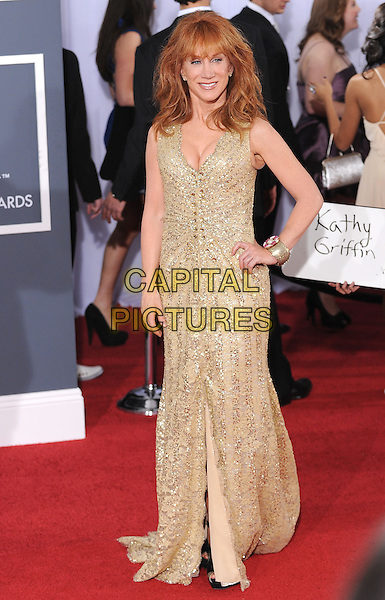 KATHY GRIFFIN.Arrivals at the 52nd Annual GRAMMY Awards held at The Staples Center in Los Angeles, California, USA..January 31st, 2010.grammys full length maxi dress gold beads beaded hand on hip sequins sequined .CAP/RKE/DVS.©DVS/RockinExposures/Capital Pictures