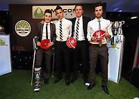 Thursday 16 May 2013<br /> Pictured: Tony Penock with youth players<br /> Re: Swansea City FC footballer of the year awards dinner at the Liberty Stadium.