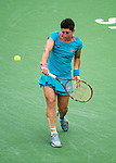 Carla Suarez Navarro (ESP) during her quarterfinal match against Simona Halep (ROU). Halep advanced after defeating Suarez Navarro by 57 61 61 at the BNP Parisbas Open in Indian Wells, CA on March 18, 2015.