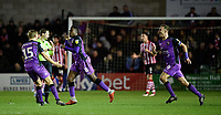 Port Vale's Emmanuel Oyeleke, centre, celebrates scoring his side's equalising goal to make the score 1-1 with team-mates Nathan Smith, left, and Tom Pope<br /> <br /> Photographer Chris Vaughan/CameraSport<br /> <br /> The EFL Sky Bet League Two - Lincoln City v Port Vale - Tuesday 1st January 2019 - Sincil Bank - Lincoln<br /> <br /> World Copyright &copy; 2019 CameraSport. All rights reserved. 43 Linden Ave. Countesthorpe. Leicester. England. LE8 5PG - Tel: +44 (0) 116 277 4147 - admin@camerasport.com - www.camerasport.com