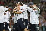 28 May 2008: England's John Terry (6) celebrates his goal with David Beckham (7), Wayne Rooney (11) and Jermain Defoe (9). The England Men's National Team defeated the United States Men's National Team 2-0 at Wembley Stadium in London, England in an international friendly soccer match.