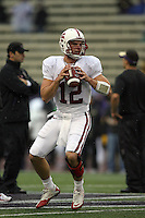 Oct 30, 20010:  Stanford quarterback #12 Andrew Luck warms up before the game against Washington.  Stanford defeated Washington 41-0 at Husky Stadium in Seattle, Washington...