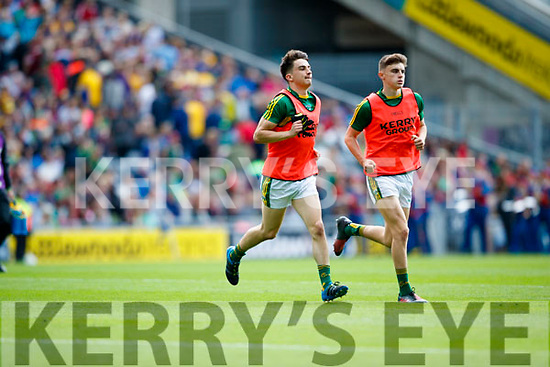 Brian Ó Beagaloich and Sean O'Shea Kerry in action against  Galway in the All Ireland Senior Football Quarter Final at Croke Park on Sunday.