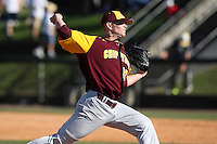 March 7, 2010:  Pitcher Bryce Morrow (17) of the Central Michigan Chippewas during game at Jay Bergman Field in Orlando, FL.  Central Michigan defeated Central Florida by the score of 7-4.  Photo By Mike Janes/Four Seam Images