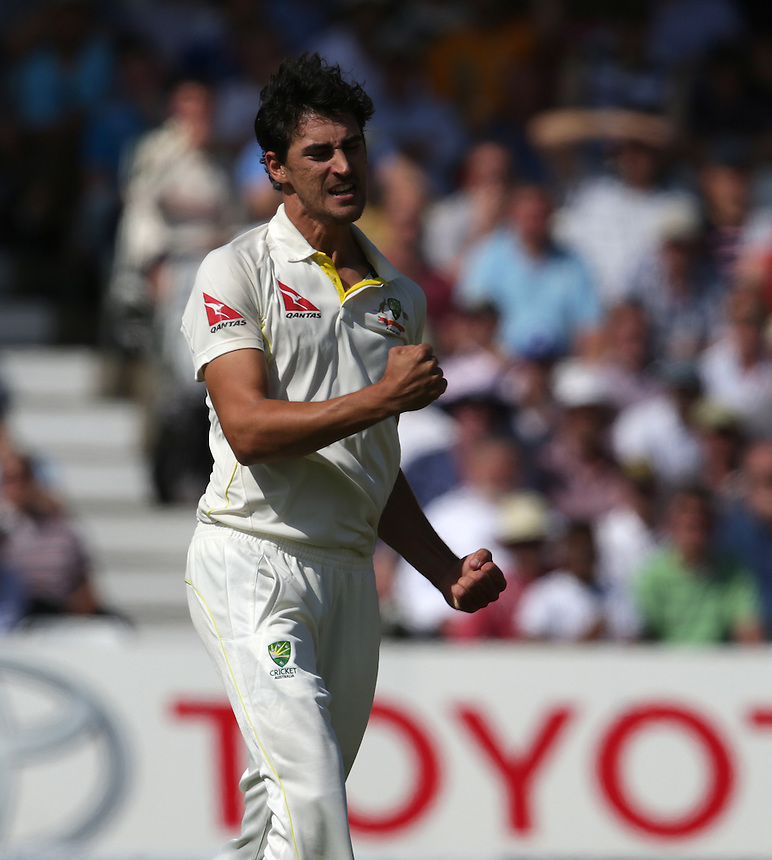 Australia's Mitchell Starc celebrates taking the wicket of England's Alastair Cook - AN Cook lbw b Starc 43<br /> <br /> Photographer Stephen White/CameraSport<br /> <br /> International Cricket - Investec Ashes Test Series 2015 - Fourth Test - England v Australia - Day 1 - Thursday 6th August 2015 - Trent Bridge - Nottingham <br /> <br /> &copy; CameraSport - 43 Linden Ave. Countesthorpe. Leicester. England. LE8 5PG - Tel: +44 (0) 116 277 4147 - admin@camerasport.com - www.camerasport.com