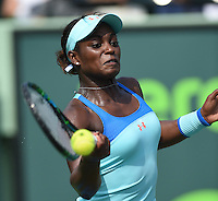 KEY BISCAYNE, FL - MARCH 27: Sloane Stephens of the United States defeats Madison Keys of the United States in their second round match during the Miami Open Presented by Itau at Crandon Park Tennis Center on March 27, 2015 in Key Biscayne, Florida.<br /> <br /> <br /> People:  Sloane Stephens<br /> <br /> Transmission Ref:  FLXX<br /> <br /> Must call if interested<br /> Michael Storms<br /> Storms Media Group Inc.<br /> 305-632-3400 - Cell<br /> 305-513-5783 - Fax<br /> MikeStorm@aol.com