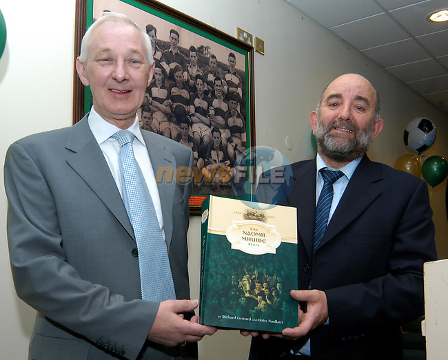 """Authors  Patsy Faulkner and Ricky Gerrard with their book """"The Naomh Mhuire Story""""  at its official launch in the Boyne Valley Hotel..Photo: Colin Bell / Newsfile"""