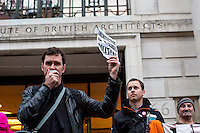 London, 15/10/15. Today, Architects for Social Housing, ASH, held a demonstration outside the HQ of RIBA (Royal Institute of British Architects) to protest against the annual Stirling Prize (The Royal Institute of British Architects Stirling Prize is a British prize for excellence in architecture). From the organiser Facebook page: <<[…] we're protesting against RIBA's nomination of NEO Bankside, by Rogers Stirk Harbour + Partners, a project which has not only broken every planning requirement for social housing in Southwark, but in doing so has set a very dangerous precedent for the mechanics of social cleansing in London […]>>.<br /> <br /> For more information please click here: http://on.fb.me/1LxmQrx & http://www.architectsforsocialhousing.co.uk/