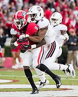 Athens, Georgia - November 17, 2018: Sanford Stadium, the number 5 ranked University of Georgia Bulldogs play the University of Massachusetts Minutemen.