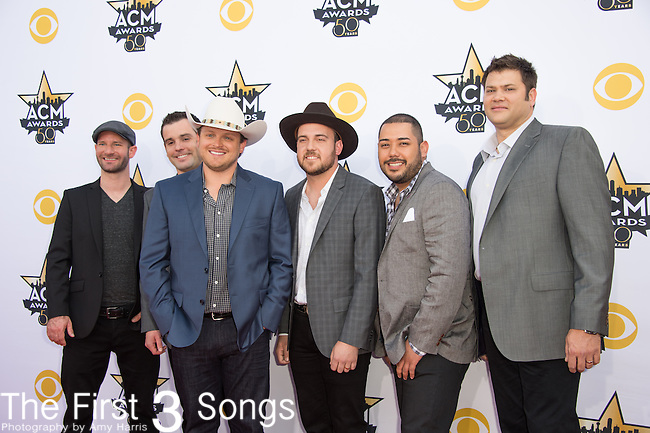 Austin Davis, Caleb Keeter, Josh Abbott, Preston Wait, Edward Villanueva and James Hertless of the Josh Abbott Band attend the 50th Academy Of Country Music Awards at AT&T Stadium on April 19, 2015 in Arlington, Texas.