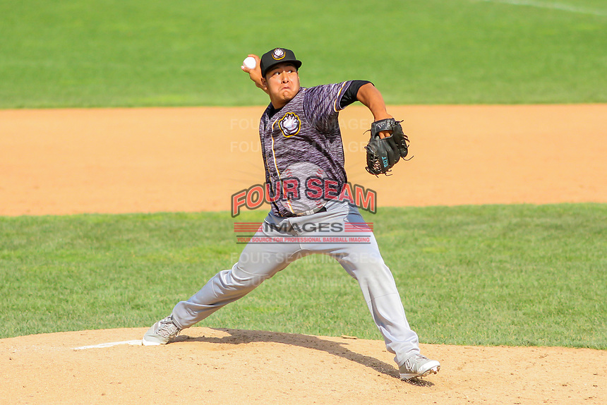 Quad Cities River Bandits pitcher Kevin Hill (36) delivers a pitch during a Midwest League game against the Beloit Snappers on June 18, 2017 at Pohlman Field in Beloit, Wisconsin.  Quad Cities defeated Beloit 5-3. (Brad Krause/Four Seam Images)