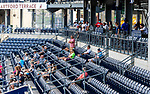 HARTFORD, CT-062520JS07—Fans were scarce during  Connecticut Twilight League baseball game between the Terryville Black Sox and the Great Falls Gators Thursday at Dunkin Donuts Park in Hartford. <br /> Jim Shannon Republican-American