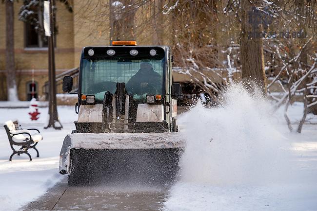 January 30, 2017; Snow removal on Main Quad (Photo by Matt Cashore/University of Notre Dame)