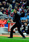 Atletico Madrid's Argentinian coach Diego Simeone gestures during the Spanish league football match Atletico de Madrid vs RCD Espanyol at the Vicente Calderon stadium in Madrid on March 15, 2014. <br />