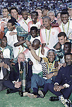 JOHANNESBURG, SOUTH AFRICA - FEBRUARY 3: Bafana Bafana, the national team celebrates their victory in the Africa's Cup of nations on February 3, 1996 in Johannesburg, South Africa. South Africa played the final in the Africa's Cup of nations against Tunisia. The only major tournament they have won. Former Presidents Nelson Mandela and FW de Klerk joined in the celebration on the field. Soccer is the most popular sport in South Africa, and because of the upcoming World Cup 2010, the interest is increasing. For the first time the World Cup will be held on the African continent. (Photo by Per-Anders Pettersson)....