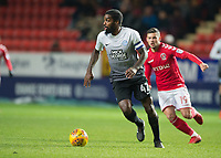 Anthony Grant of Peterborough United goes past Jake Forster-Caskey of Charlton Athletic during the Sky Bet League 1 match between Charlton Athletic and Peterborough at The Valley, London, England on 28 November 2017. Photo by Vince  Mignott / PRiME Media Images.