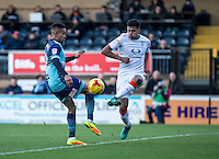 Paris Cowan-Hall of Wycombe Wanderers and James Justin of Luton Town during the Sky Bet League 2 match between Wycombe Wanderers and Luton Town at Adams Park, High Wycombe, England on the 21st January 2017. Photo by Liam McAvoy.