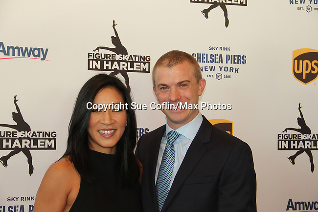 Michelle Kwan (2-time Olympic medalist, 5-time World Champion and 9-time U.S. Champion) poses with Tim Goebel (2002 Olympic bronze medalist) at Figure Skating in Harlem's Champions in Life (in its 21st year) Benefit Gala recognizing the medal-winning 2018 US Olympic Figure Skating Team on May 1, 2018 at Pier Sixty at Chelsea Piers, New York City, New York. (Photo by Sue Coflin/Max Photo)