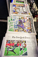 Headlines of New York newspapers on Monday, February 2, 2015 report on the previous day's victory of the the New England Patriots over the Seattle Seahawks in Super Bowl XLIX.  (© Richard B. Levine)