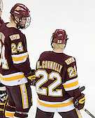 Mike Montgomery (Duluth - 24), Mike Connolly (Duluth - 22) - The University of Minnesota-Duluth Bulldogs defeated the Union College Dutchmen 2-0 in their NCAA East Regional Semi-Final on Friday, March 25, 2011, at Webster Bank Arena at Harbor Yard in Bridgeport, Connecticut.