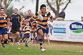 Richie Ah Chong runs down the touchline on his way to scoring his second try. Counties Manukau Premier Club Rugby game between Patumahoe  and Bombay played at Patumahoe on Saturday 24th April 2010..Patumahoe won 52 - 5 after leading 26 - 0 at halftime.