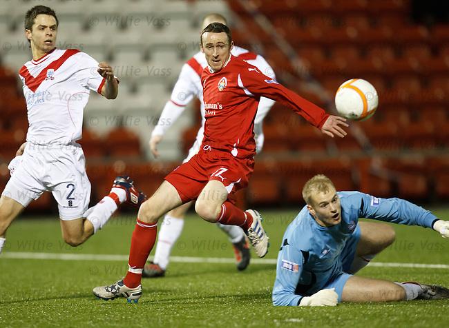 Morton striker David O'Brien takes the ball around Airdie's keeper Mark Ridgers to open the scoring
