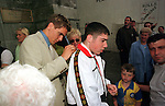 Jonathan Woodgate England International singning the Manchester United shirt of Ciaran Higgins from Drogheda after the Wedding of Gary and Ann Marie Kelly in Drogheda..Pic BYline Fran Caffrey / Newsfile