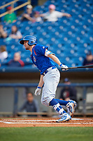 South Bend Cubs third baseman Austin Filiere (21) follows through on a swing during the first game of a doubleheader against the Lake County Captains on May 16, 2018 at Classic Park in Eastlake, Ohio.  South Bend defeated Lake County 6-4 in twelve innings.  (Mike Janes/Four Seam Images)