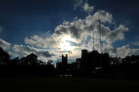 A general view of the sun setting from the Recreation Ground pitch. Aviva Premiership match, between Bath Rugby and Saracens on October 3, 2014 at the Recreation Ground in Bath, England. Photo by: Patrick Khachfe / Onside Images