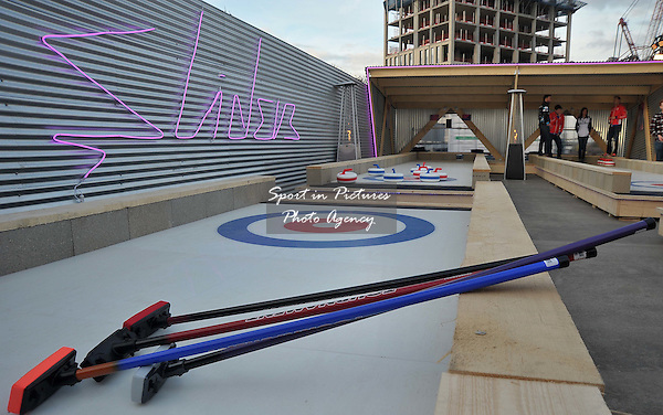 David Murdoch, Eve Muirhead, Tom Brewster and Glen Muirhead open new rooftop curling centre in East London. Sliders. Roof East. Stratford Shopping Centre. London. England. UK. 03/11/2016. ~ MANDATORY CREDIT Garry Bowden/SIPPA - NO UNAUTHORISED USE - +44 7837 394578
