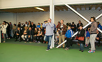 Rotterdam, The Netherlands, 15.03.2014. NOJK 14 and 18 years ,National Indoor Juniors Championships of 2014, publicTrophy giving on court, <br /> Photo:Tennisimages/Henk Koster