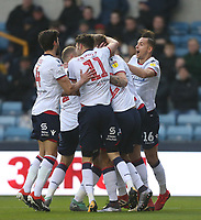 Bolton Wanderers' Mark Beevers celebrates scoring his side's first goal with his team mates<br /> <br /> Photographer Rob Newell/CameraSport<br /> <br /> The EFL Sky Bet Championship - Millwall v Bolton Wanderers - Saturday 24th November 2018 - The Den - London<br /> <br /> World Copyright © 2018 CameraSport. All rights reserved. 43 Linden Ave. Countesthorpe. Leicester. England. LE8 5PG - Tel: +44 (0) 116 277 4147 - admin@camerasport.com - www.camerasport.com