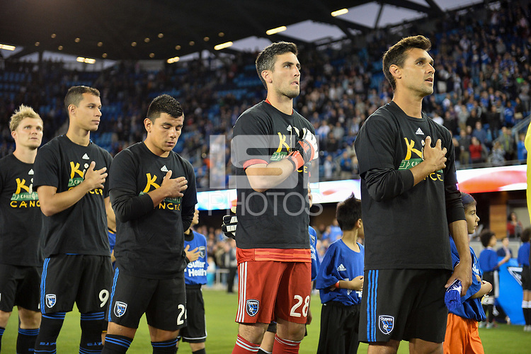 San Jose, CA - Saturday September 15, 2018: Luis Felipe, Nick Lima, Andrew Tarbell, Chris Wondolowski, national anthem prior to a Major League Soccer (MLS) match between the San Jose Earthquakes and Sporting Kansas City at Avaya Stadium.