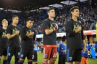 San Jose, CA - Saturday September 15, 2018: Luis Felipe, Nick Lima, Andrew Tarbell, Chris Wondolowski, national anthem prior to a Major League Soccer (MLS) match between the San Jose Earthquakes and Sporting Kansas City at Avaya Stadium.
