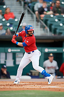 Buffalo Bisons second baseman Devon Travis (2) at bat during a game against the Scranton/Wilkes-Barre RailRiders on May 18, 2018 at Coca-Cola Field in Buffalo, New York.  Buffalo defeated Scranton/Wilkes-Barre 5-1.  (Mike Janes/Four Seam Images)