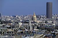 City buildings seen from the Eiffel Tower including the Montparnasse Tower and the dome of Les Invalides, Paris, France.