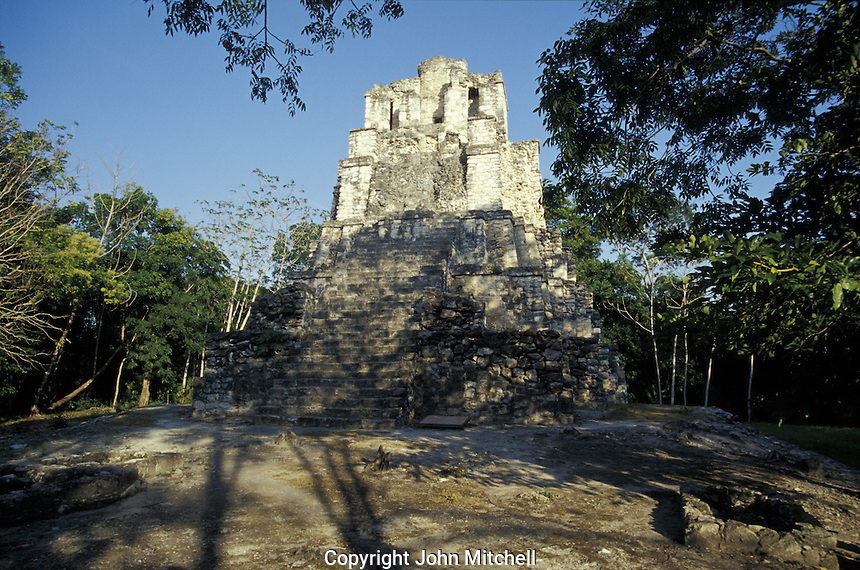 El Castillo, the main pyramid at the Mayan ruins of Muyil, Quintana Roo, Mexico. Muyil is also known as Chunyaxche.