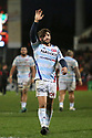 A dejected Racing 92's Teddy Iribaren waves towards his team's supporters after they lost to Ulster 26 - 22 at the Kingspan Stadium, Belfast, Northern Ireland, 12 Jan 2019. Photo/Paul McErlane