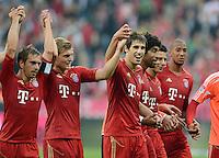 FUSSBALL   1. BUNDESLIGA  SAISON 2012/2013   2. Spieltag  02.09.2012 FC Bayern Muenchen - VfB Stuttgart       SCHLUSSJUBEL LAOLA; Philipp Lahm, Toni Kroos, Javi Martinez, Dante, Claudio Pizarro und Jerome Boateng (v.li.)